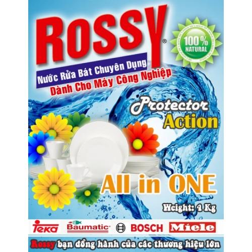 Bột rửa rossy dễ dàng hòa vào dòng nước cứng và rửa trôi mọi vết dầu mỡ